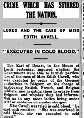 Edith Cavell's execution reported in a newspaper article.