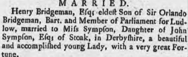 Henry Bridgeman marriage in the newspapers