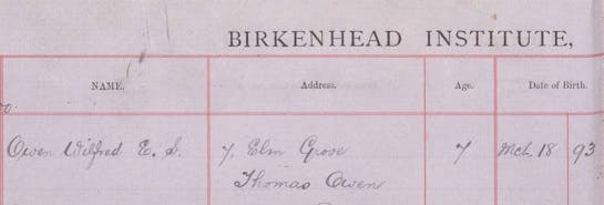 Wilfred Owen's school records.