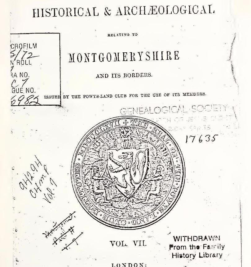 Collections Historical And Archaeological Relating To Montgomeryshire And Its Borders as held in PERSI