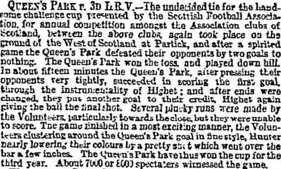 1876 Scottish Cup Final - newspaper report