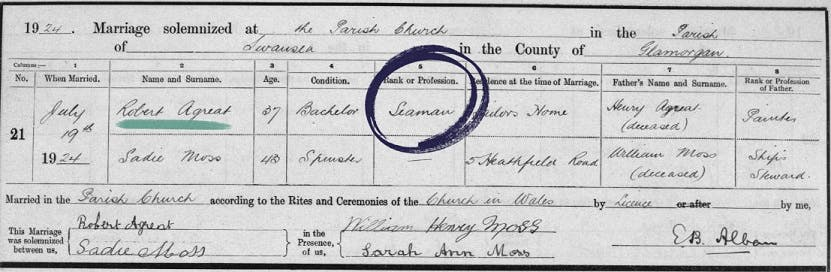 Swansea marriage records