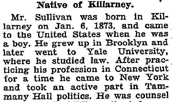 The obituary of James M. Sullivan contained information that helped us find his birth in our Irish Catholic parish records. Read more about this American diplomat who was arrested and imprisoned during the 1916 Rising.