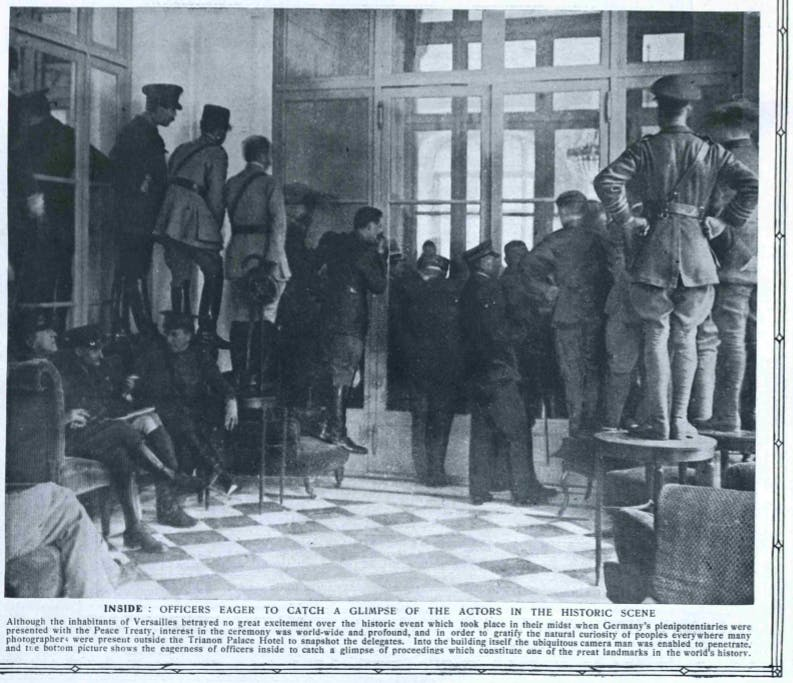 A photo of the negotiations printed in the Graphic, May 1919
