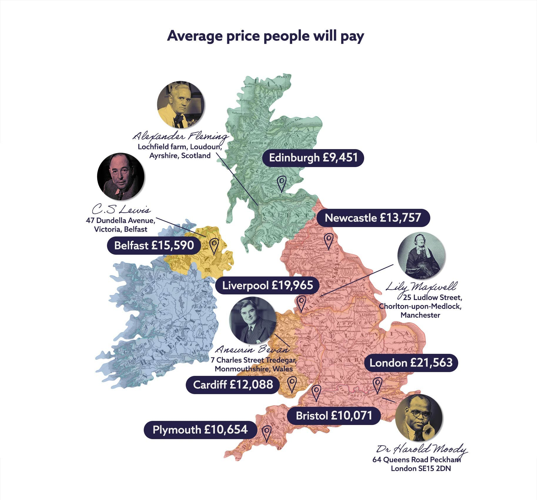 UK map with house prices and famous residents