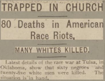 Tulsa race massacre - death toll in newspapers