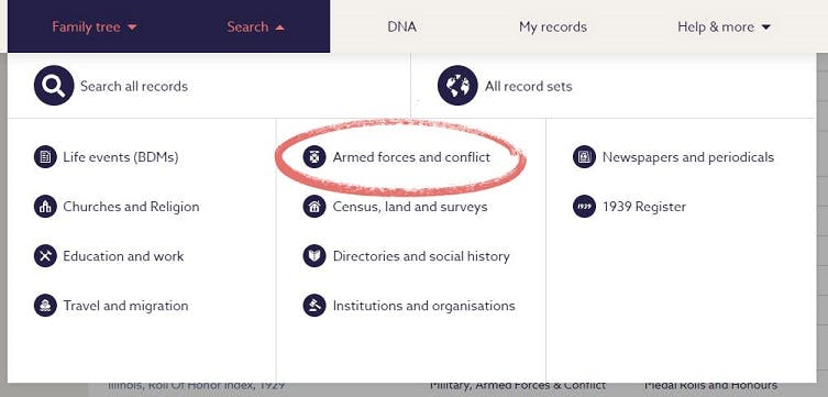 Search Findmypast military records