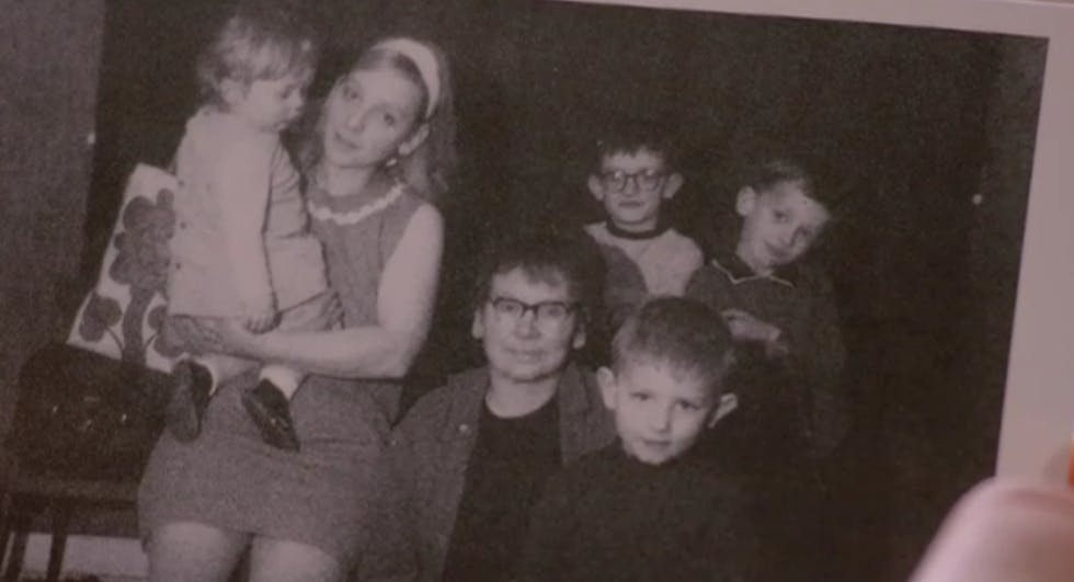 """A family photo of George with his siblings and grandmother """"Nannie Glynn"""""""