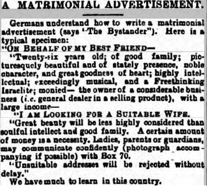 funny dating ads from the past