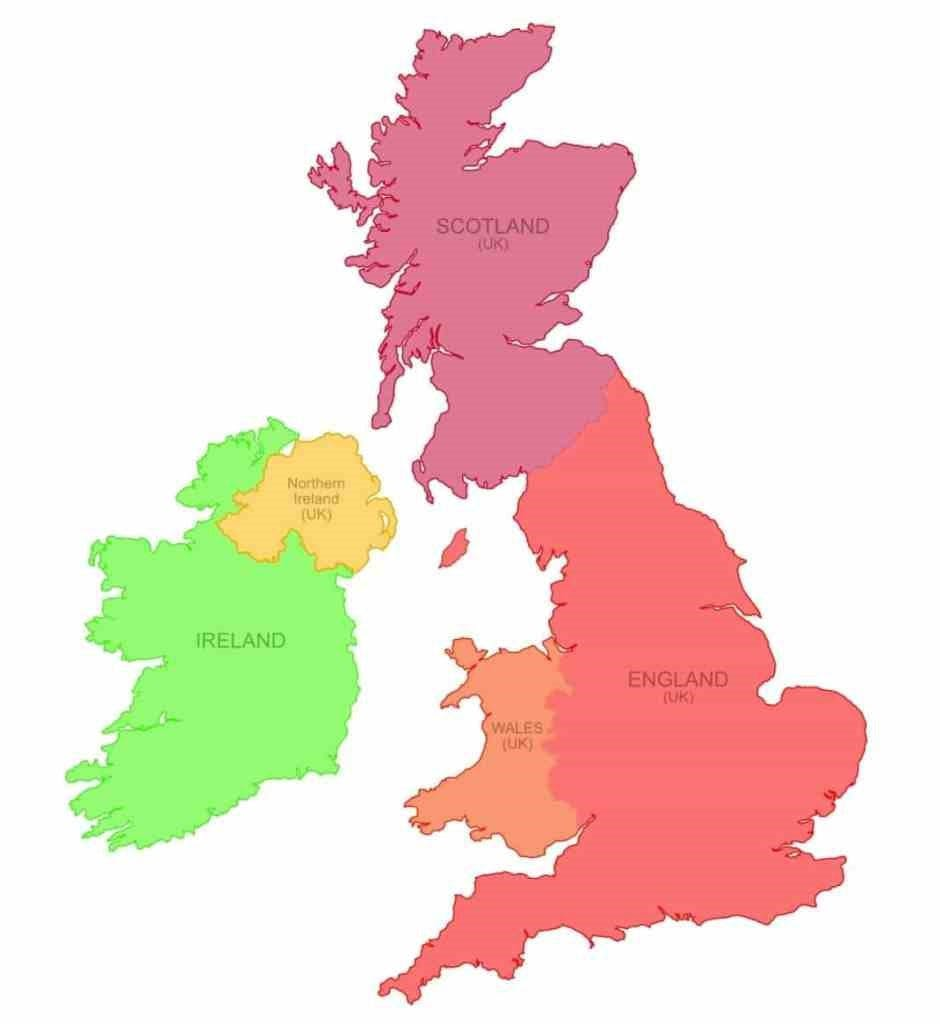 The four countries of the United Kingdom and the Republic of Ireland. Map courtesy of Nate Parker.