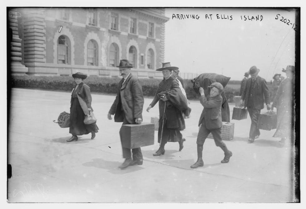 European migrants arriving at Ellis Island, New York, in 1915.
