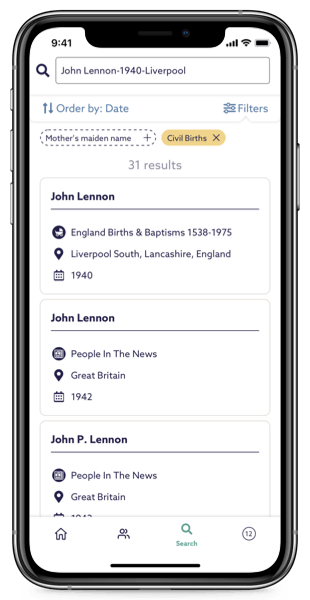 Search records on Findmypast app
