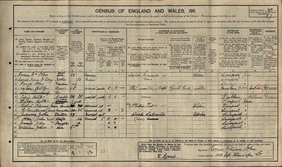 1911 UK census record