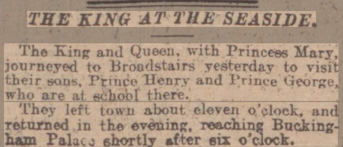 King and Queen head to Broadstairs, newspaper article