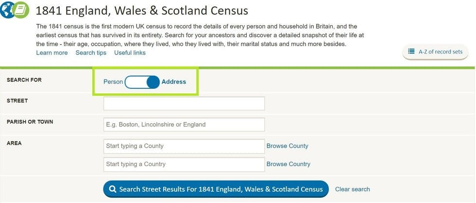 Address search on the 1841 census