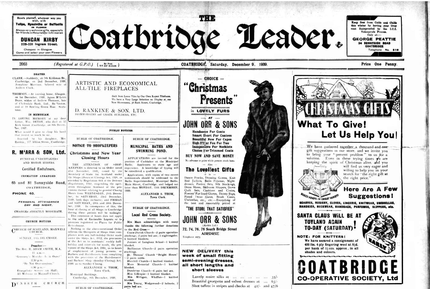 The Coatbridge Leader newspaper archives