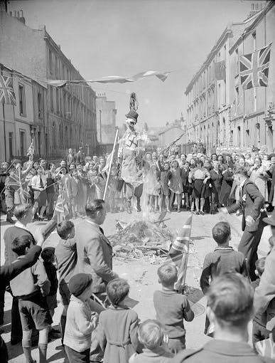 VE Day effigies of Hitler in England