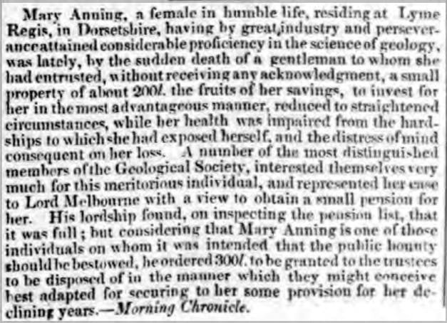 Mary Anning petition in newspapers.