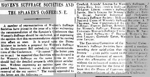 Suffragettes reported in newspapers