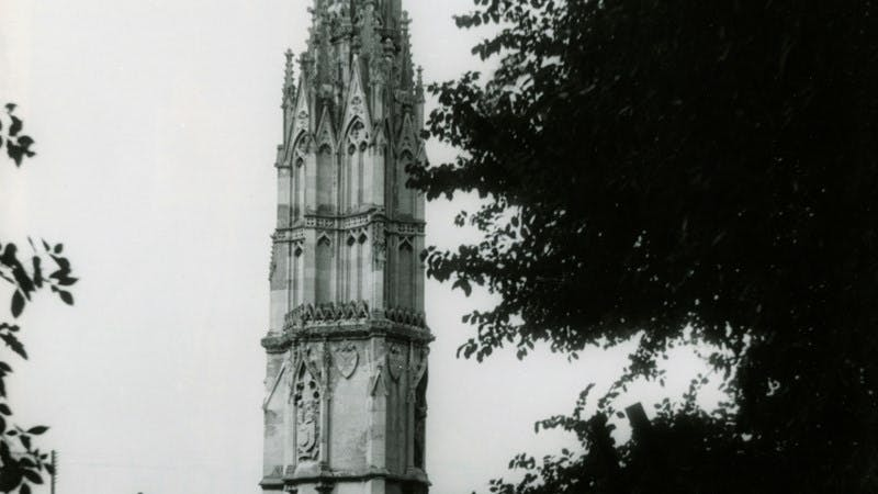 A black-and-white photograph showing the cross tower at Ashby-de-la-Zouch.
