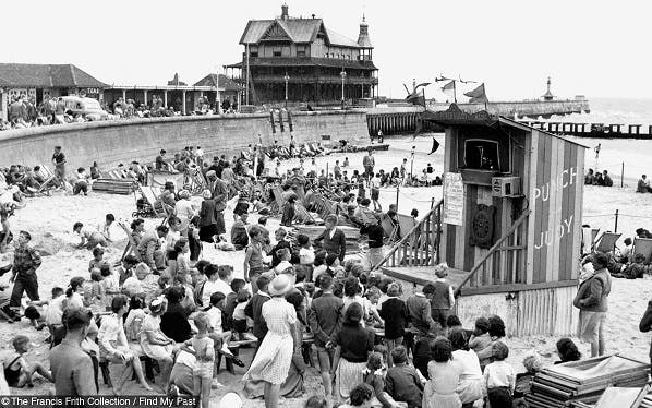 Punch and Judy show in Lowestoft, 1952