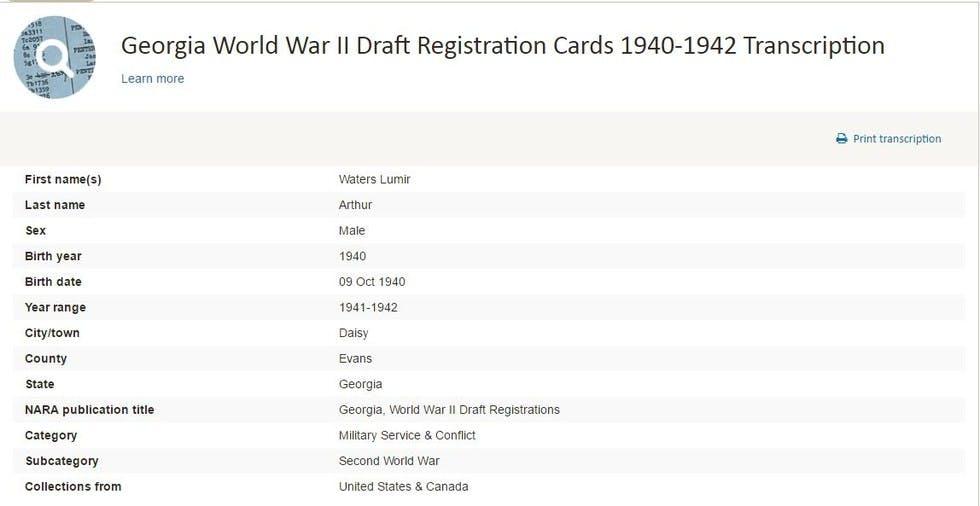 Transcription from Georgia World War II Draft Registration Cards 1940-1942