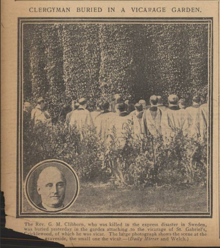 1912 newspaper article depicting Rev. George's burial in the vicarage garden