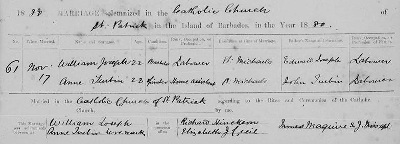 Barbados marriage records online