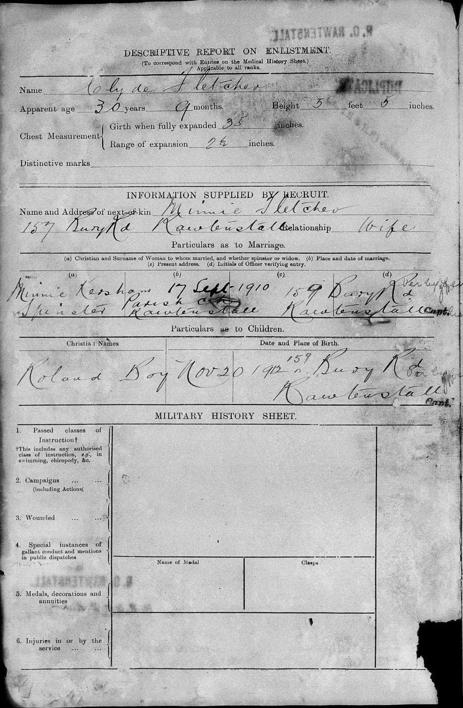 The same page of a soldier's enlistment before the damage was done to the document, British Army Service Records, http://findmypast.com, subscription database, accessed June 2017.