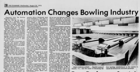 Article about the invention of modern bowling technology from Gettysburg Star and Sentinel December 27, 1924