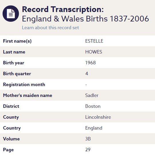 Findmypast birth record