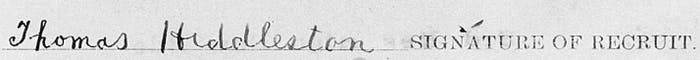 Thomas Hiddleston's signature on his military record.