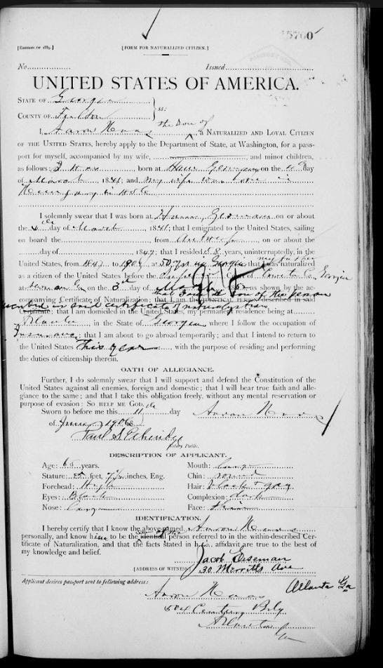US passport applications can reveal your ancestor's country of birth