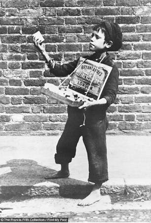 Young match seller, London, 1884