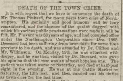 From Northampton Mercury June 27, 1885