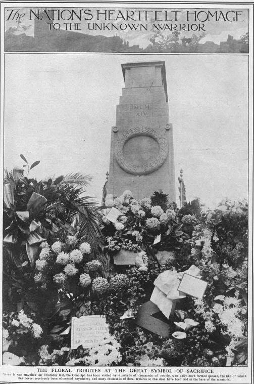 Cenotaph unveiled, 1920