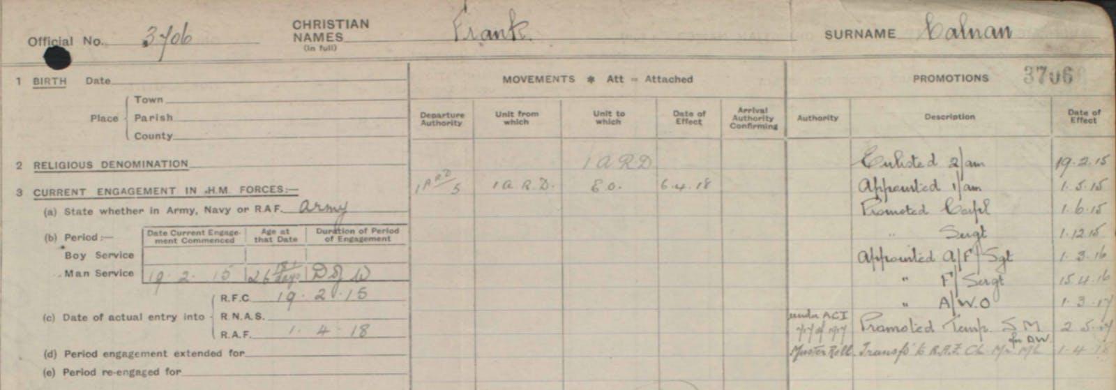 Tom Pidcock's ancestor's military record