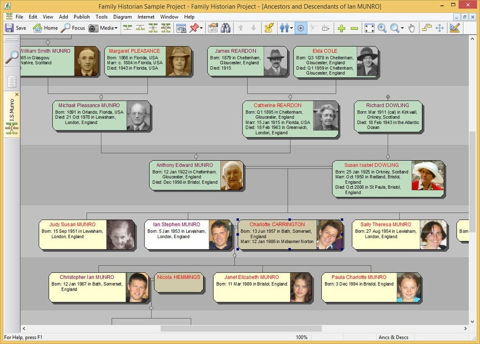 Offline family tree software