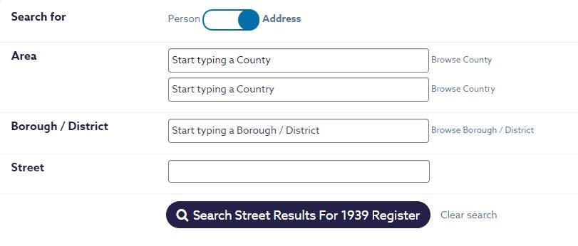1939 Register - search by address