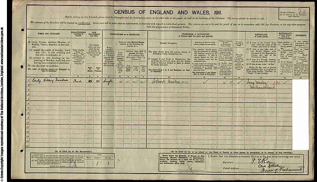 Emily Davison parliament 1911 census