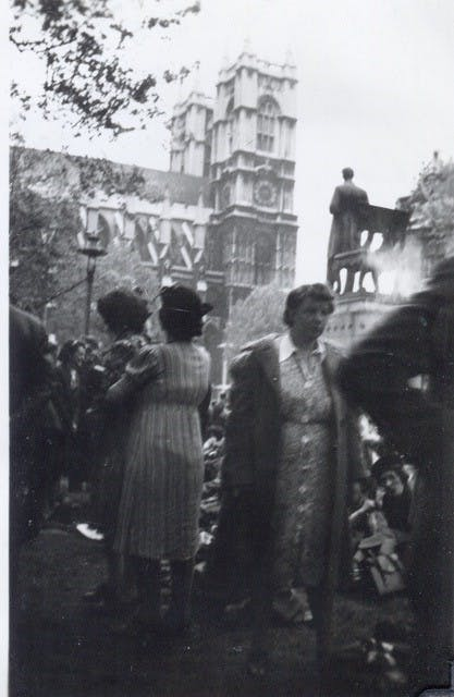 Westminster Abbey, VE Day, 1945.