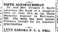 This birth announcement not only provides information about the child's birth, but also gives clues about the maternal grandmother, giving this person more to search! Found in Kingsport Times July 3, 1938