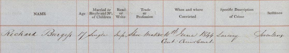 Richard Burgess criminal in New Zealand gold rush
