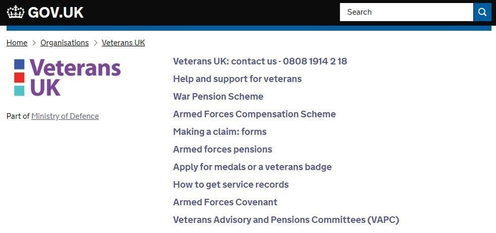 Order service records from the Veterans UK website