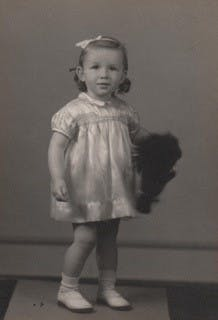 Findmypast member, Valerie Woolley, aged two.