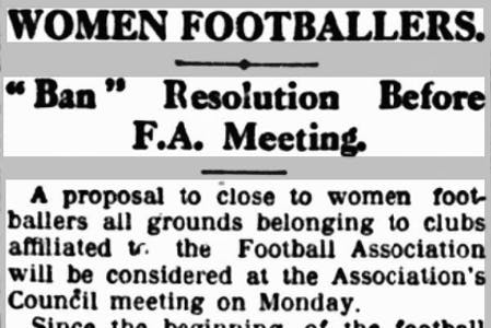 Newspaper article on banning women from FA grounds