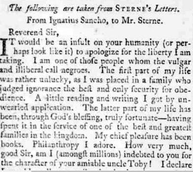 Ignatius Sancho letters published in newspapers