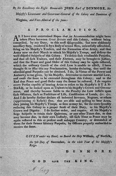 John Earl of Dunmore martial law proclamation, 1775.