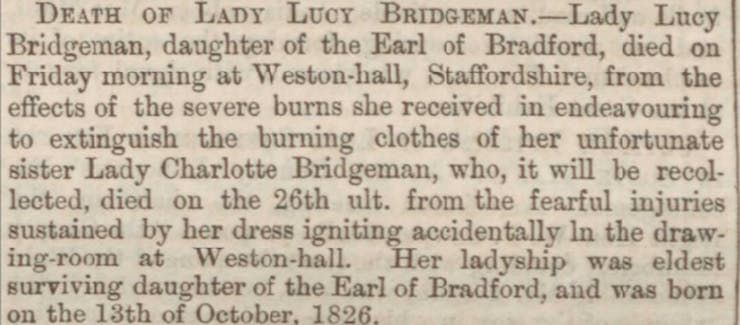 Death announcement of Charlotte and Lucy Bridgeman in the newspapers