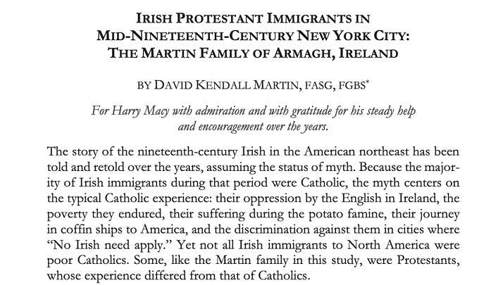 Records of Irish immigrants to New York